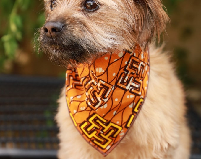 African Dog Bandana, Orange and Yellow Dog Bandana, Pet Clothing, Pet Accessories