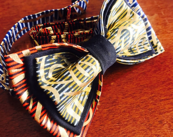 Gold Bow tie, African Bow Tie, Bow Tie, Ankara bow tie, Nigerian bow tie, Bow Tie for men, Bow Tie for women, Bow Tie for kids,