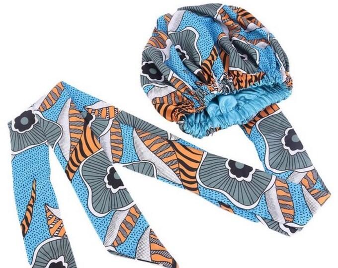 African Print Satin Lined Bonnet, Women's Bonnets, Oversized Hair Bonnet