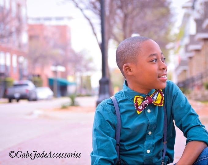 Ankara Bow tie, African wax bow tie, bow tie, yellow bow tie