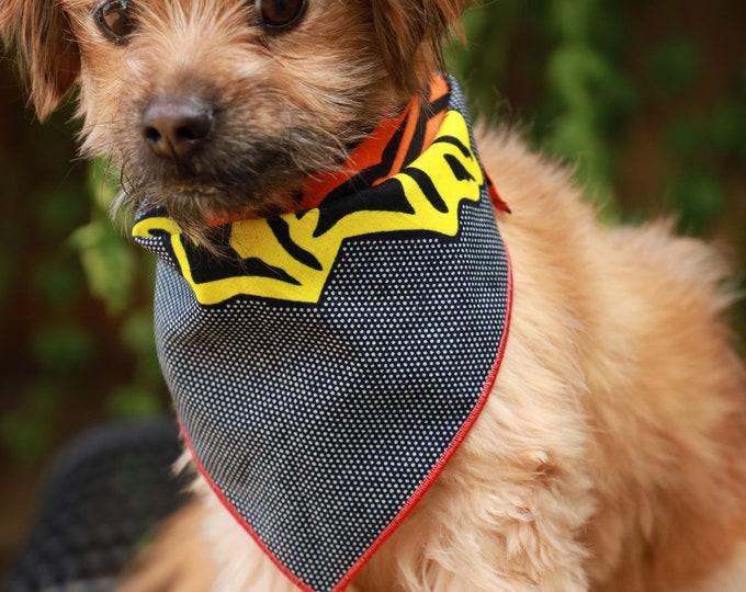African Dog Bandana, Orange and Yellow Dog Bandana, Pet Clothing, Pet Accessories