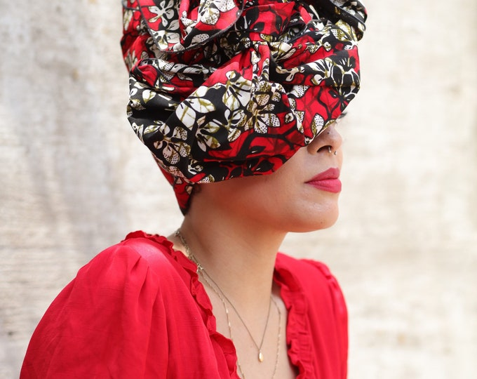 Turban Wax, Red Headwrap, Red Turban, Women's Gifts, Headwrap, African Bandana, Gifts for Her, Black Headwrap