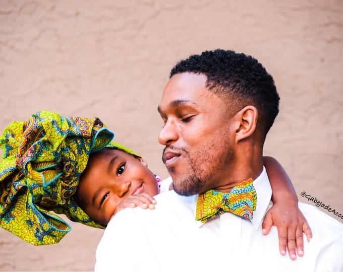 African fabric bow tie, wax bow tie, green bow tie, wedding bow tie, mens bow tie, kids bowtie