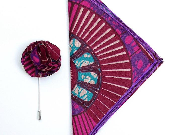 Pink and Purple Pocket Square, Magenta Wedding Handkerchief, Grooms Accessories, Lapel Pin, African Print Pocket Square, Ankara Lapel Pin