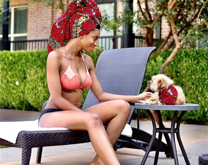 Turban Wax, African Turban, African Headwrap, African Fabric Headwrap, Red Headwrap