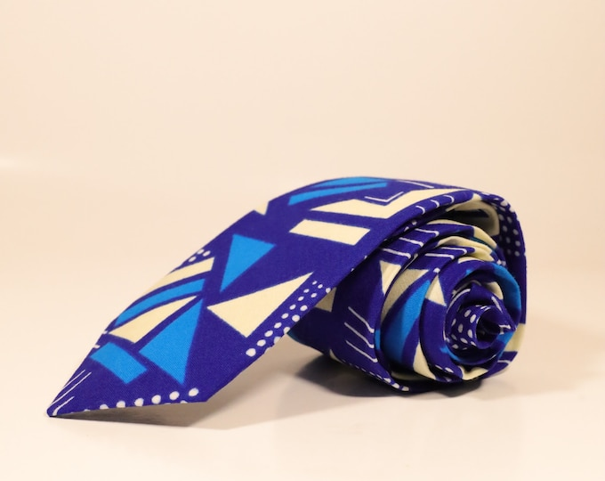 African Print Tie, Blue Necktie, Christmas Gifts For Men, Men's Blue Tie, Groomsmen Gift