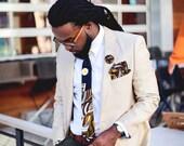 Men's Tie, African Fabric Tie, Black and Brown Tie