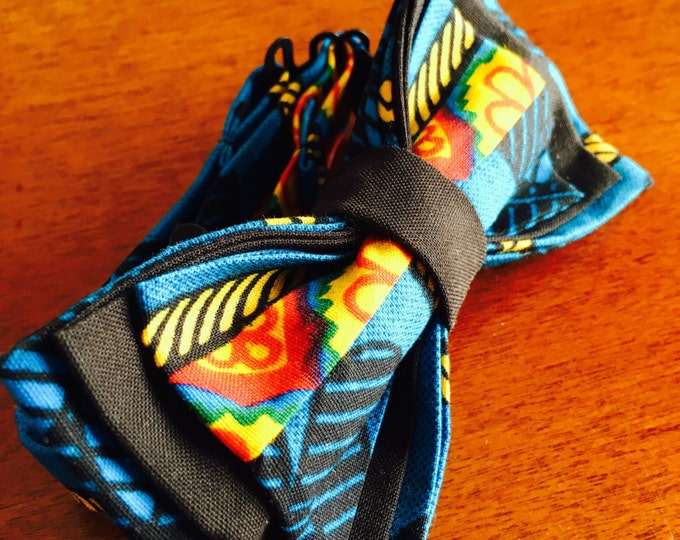 Fiery Ocean African Bowtie, African Bow Tie, Bow Tie, Ankara bow tie, Nigerian bow tie, Bow Tie for men, Bow Tie for women, Bow Tie for kids