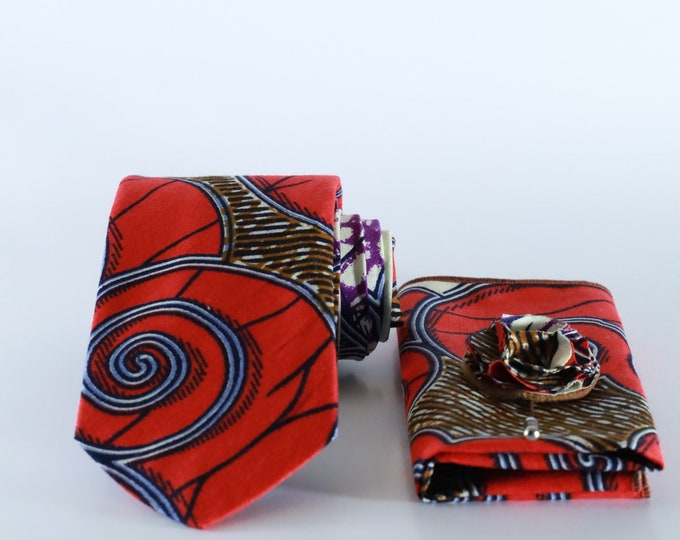 Ankara Necktie, Red Necktie, Wedding Accessories, Groomsmen Ties