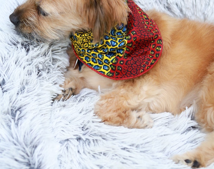 Ankara Dog Bandana, African Petwear, African Pet Bandana, Blue, Red, and Yellow Bandana