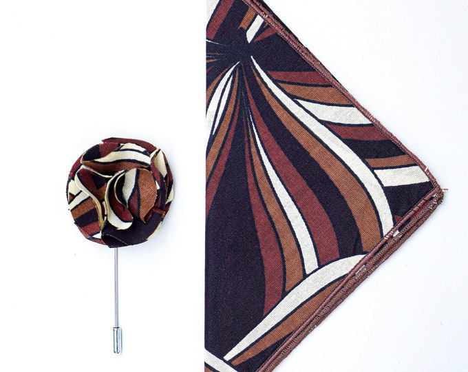 African Print Pocket Square, Flower Lapel, Wedding Accessories, Grooms Lapel Pin, Gifts For Men, Brown Pocket Square, Brown Lapel Pins
