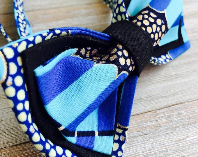 African fabric bow tie, Unique Bow tie, Ankara bow tie, Blue bow tie, gold bowtie