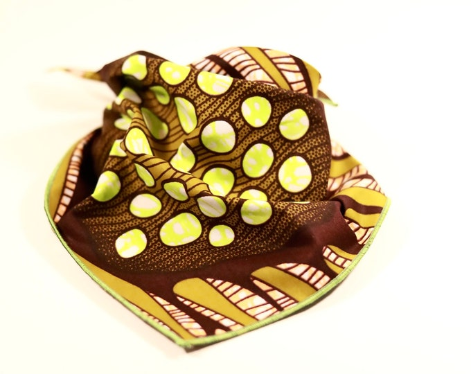 Dog Bandana, Brown and Green Dog Neckwear, Ankara Dog Bandana