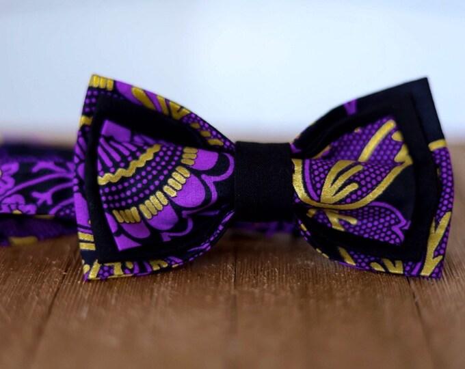 Wax bowtie, African Fabric Bowtie, Purple Bowtie, Gold Bow tie