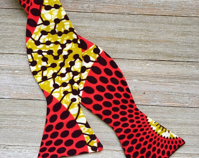 African fabric bow tie, Wedding bow tie, mens bow tie, boys bow tie, red bowtie