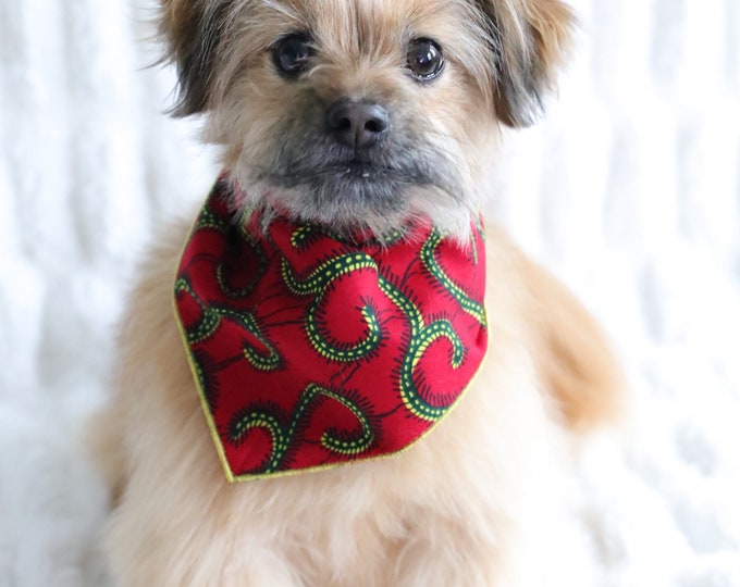 Pet Bandana, Ankara Dog Bandana, Pet Accessories, Pet Wear, Red Dog Bandana, Valentine's Dog Bandana, Valentine's Dog Clothes