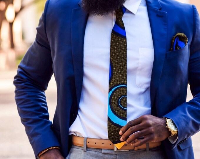 Ankara Necktie, Wax Tie, Wedding, Groomsmen, Blue Tie