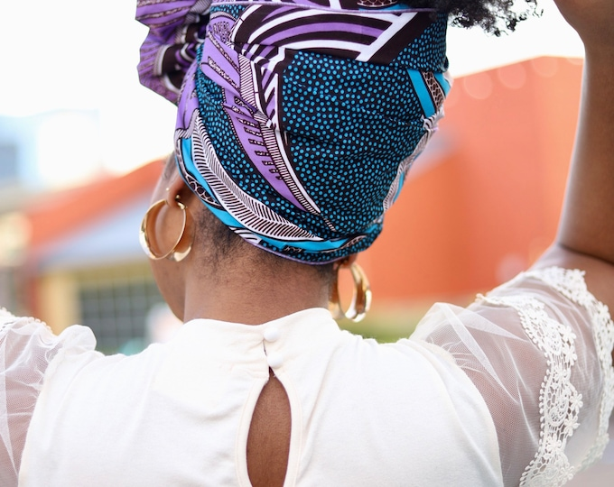 Turban Wax, African Fabric Headwrap, Purple and Blue Headwrap, Women's Headwrap