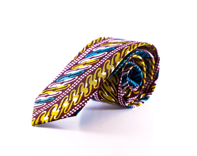 African Fabric Necktie, Men's Tie, Wedding Tie, Groomsmen Tie