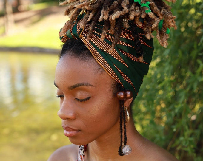 Turban Wax, Green Turban, Green Headwrap, Women's Headwrap, African Fabric Headwrap