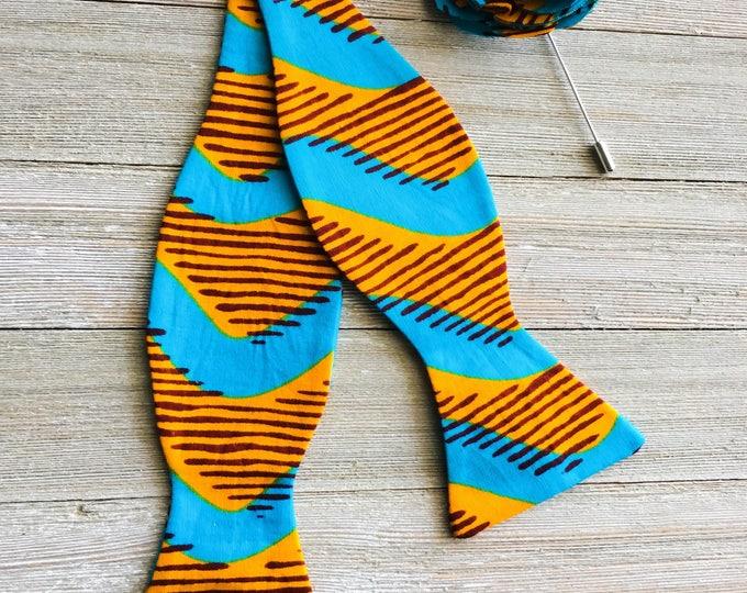 African fabric bow tie, Ankara bow tie, wax bow tie, blue bow tie, wedding bow tie, yellow bowtie