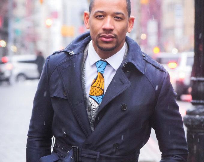 African Fabric Necktie, Blue Necktie, Wedding Necktie, Groomsmen, Wax Print Necktie
