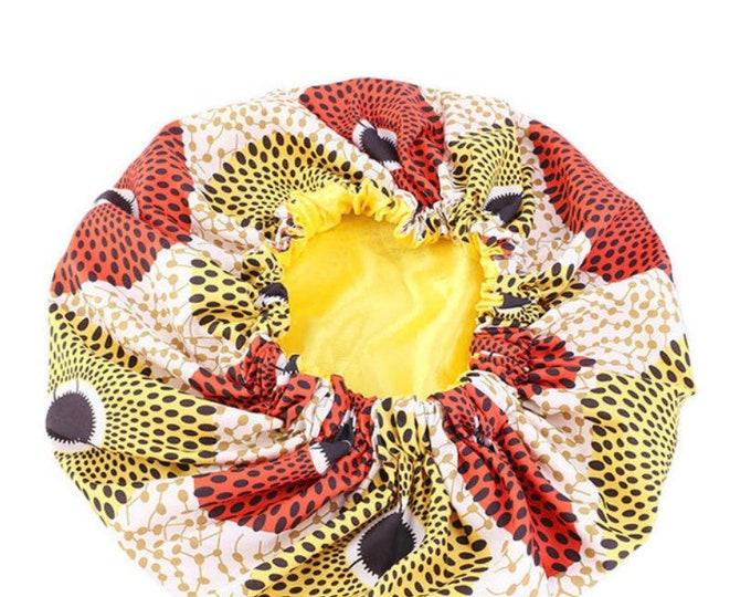 African Print Satin Bonnets, Women's Bonnets, Women's Hair Bonnet