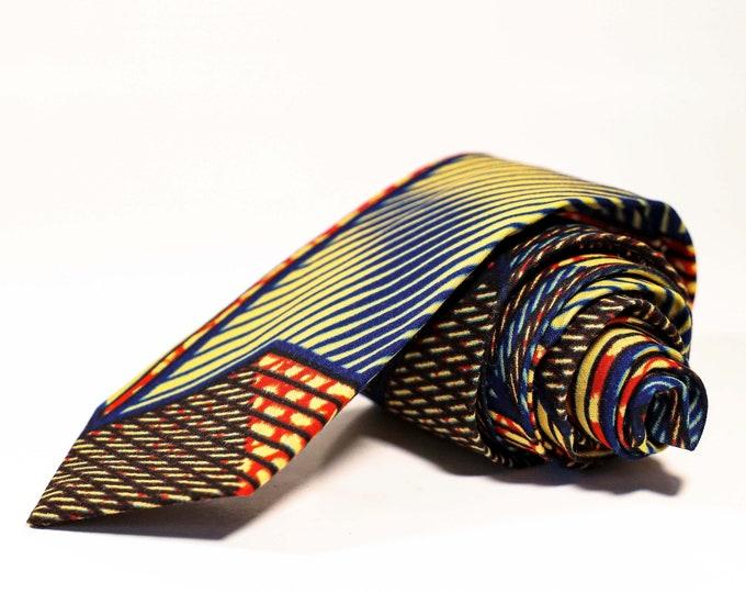 African Print Tie, Men's Tie, Orange and Blue Tie, Wedding Tie