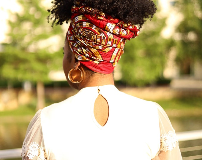 Turban Wax, Red, Gold and Brown Headwrap, Women's Scarf, Women's Headwrap