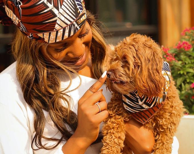Turban Wax, Dog Bandana, Fall Bandanas for Dogs, Orange and Brown Headwrap, African Headwrap, Ankara Turban