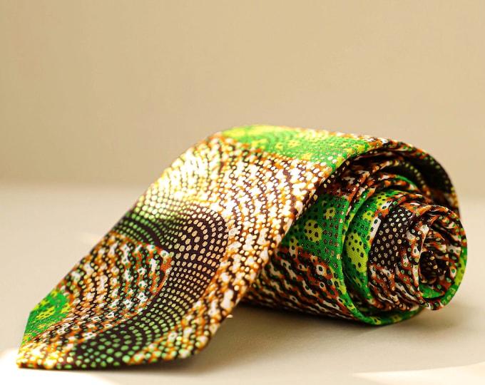 Wedding Tie, Groom's Necktie, Green Wedding Tie, Fall Wedding Tie, Gold Tie, Brown and Green Tie, African Tie, Ankara Tie, Groomsmen's Tie