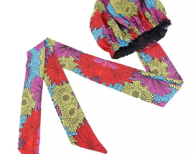 Women's Bonnet, Satin Lined Bonnet, Satin Bonnet, African Print Hair Bonnet