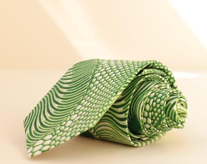 African Print Tie, Green Tie, Men's Tie, Ankara Tie, Wedding Tie, Groom's Necktie, Groomsmen's Tie, Gifts for Men, Pocket Square, Fall Tie