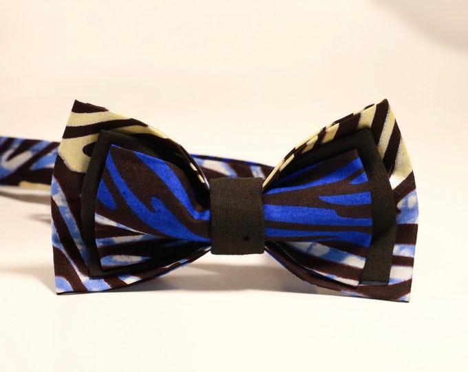 African Print Bowtie, Blue Bowtie, Men's Bow tie, Kids Bowtie, Wedding Bowtie