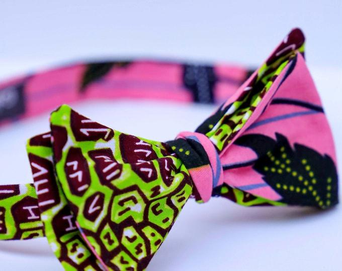 Wax Bowtie, African Bowtie, Ankara Bowtie, Self-Tie Bowtie, Grooms Tie, Groomsmen's Bowtie, Pink and Green Bowtie, Men's Gifts, Unique Tie