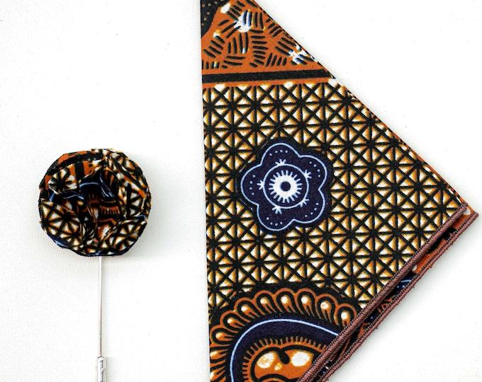 Ankara Pocket Square, African Print Lapel Pin, Wedding Accessories, Grooms Men's Gifts, Wedding Gifts, Men's Gifts, Ankara Accessories