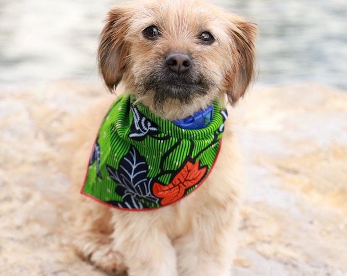 Green Dog Bandana, Orange Pet Neckwear, Pet Gifts, African Bandana, Bandana For Dogs, Bandana For Cats, Pet Accessories