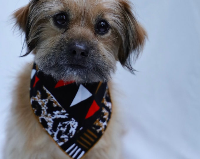 African Print Dog Bandana, Pet Neckwear, Pet Accessories, Black Dog Bandana, Pet Clothing