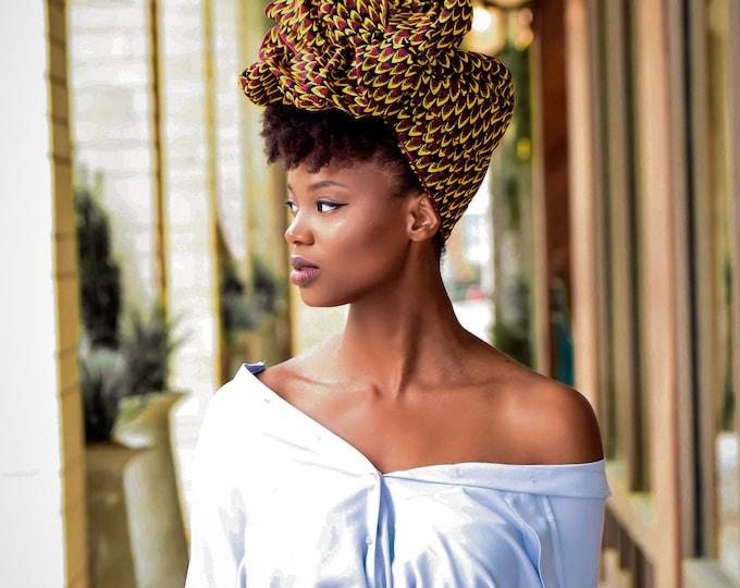 Turban Wax, African Pint Headwrap, Wax Prints, Women's Hair Wrap