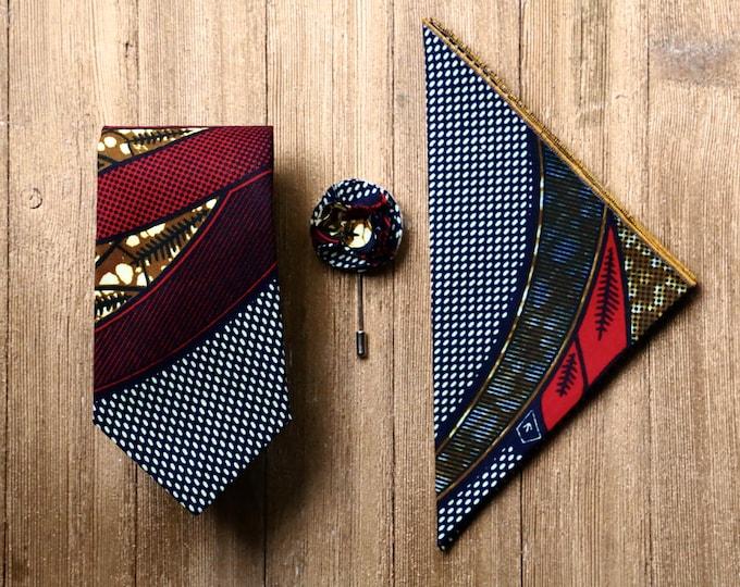 Ankara Necktie, Red and Blue Tie, Men's Tie, Father's Day Gift