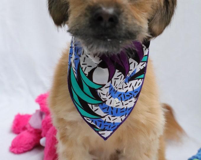 African Fabric Dog Bandana, Orange and Purple and Blue Dog Bandana, Ankara Dog Accessories