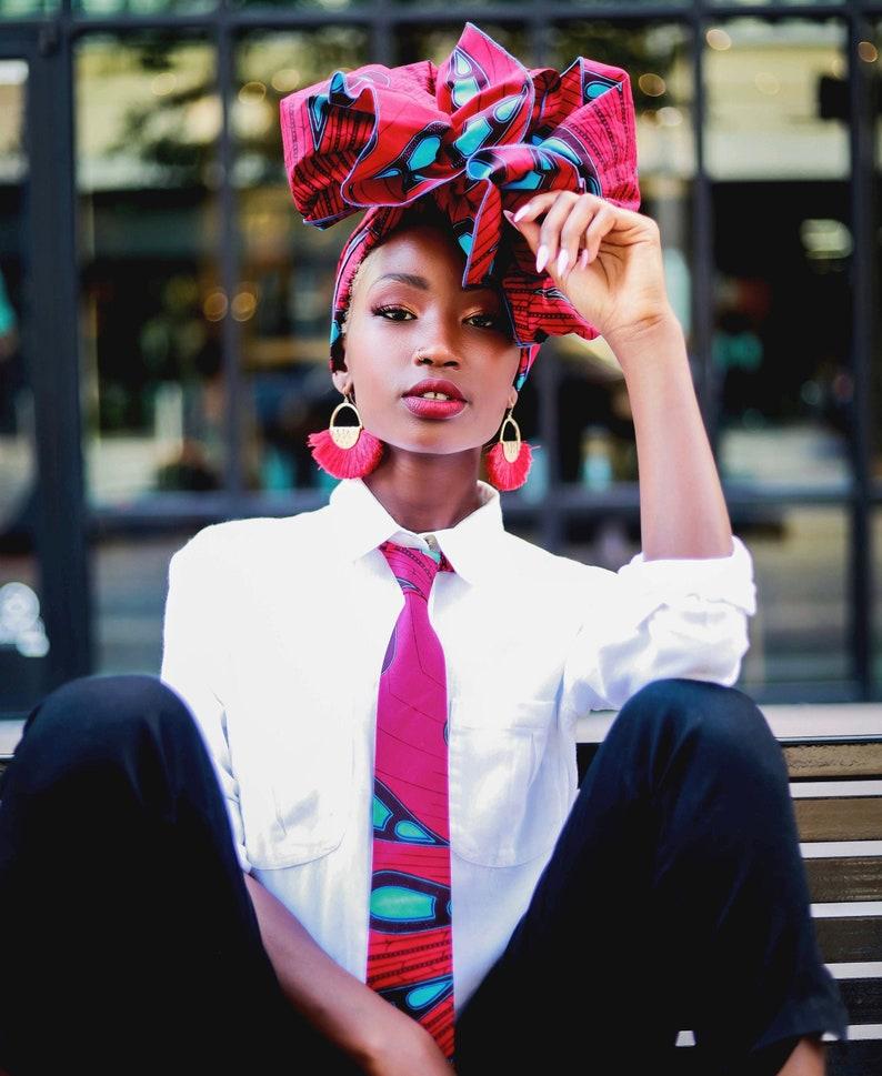African Fabric Headwrap Turban Wax Women's Scarf Red image 0