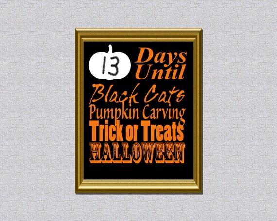 Printable Halloween advent Calendar Instant Download