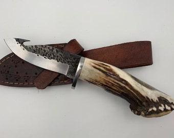 The Thoreau Hook - Hammered Steel Antler Knife, Stag Antler Knife, Huntsman Gift, Utility Knife, Decorative Hook, Solid, Outdoorsman Gift