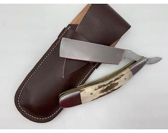 Burtchell-Sleek, Stainless Steel, Antler Accessories, Gadgets For Him, Smooth, Efficient Straight Razor, Outdoorsman Tool, Anniversary Gift,