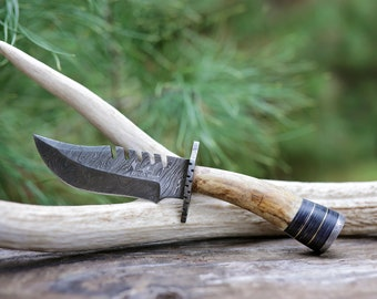 The Madson - Damascus Steel, Top Seller, Antler Hunting Knives For Him, Groomsman Gifts, Sturdy, Stag Antler Handle, Genuine Antler Knives