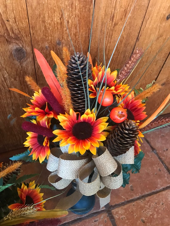 Fall wildflower sunflower cone cone insert silk flowers etsy image 0 mightylinksfo