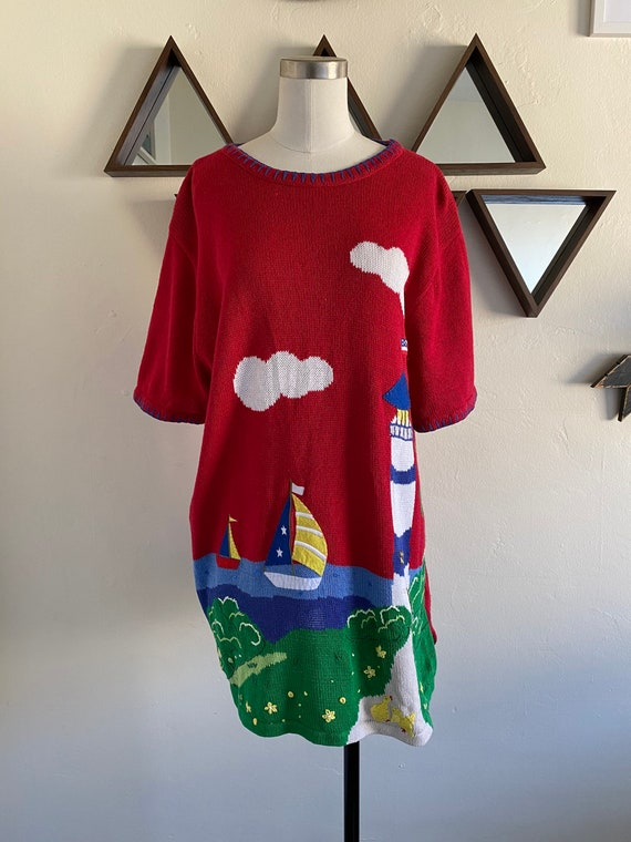 Vintage 80s Novelty Kitschy Pullover Sailing Embro