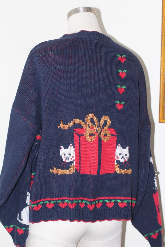 Retro 80s Holiday Sweater Silver and Black with Tinsel Rose and X Design