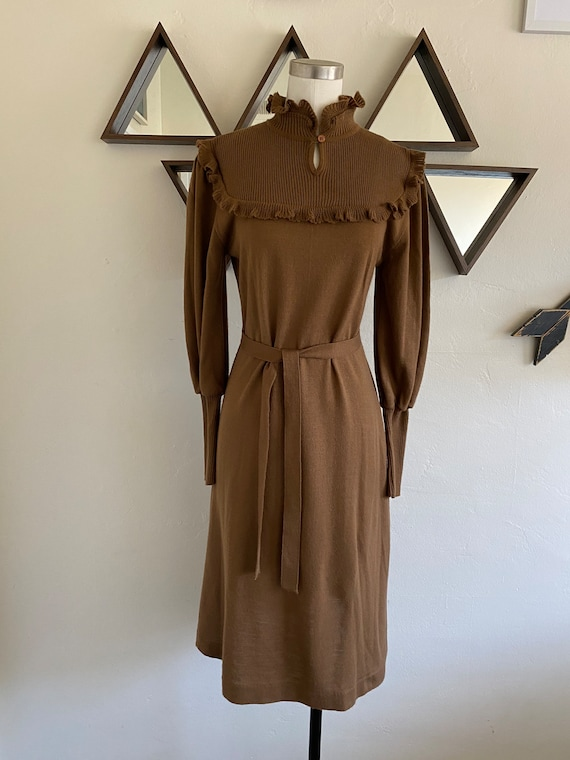 Vintage 70s Knit Sweater Dress with Ruffled Mockne